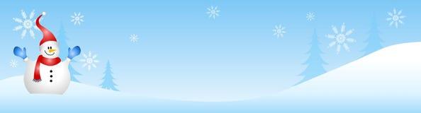 Schneemann-Winter-Szene lizenzfreie abbildung
