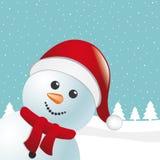 Schneemannschal und Weihnachtsmann-Hut Lizenzfreie Stockbilder