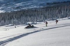 Schneemobil fahrung im Wald Stockbild