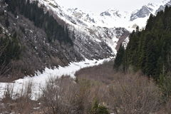 Schneeschnee in Mestia, svaneti, Georgia Lizenzfreie Stockfotos