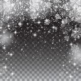 Schneeschneeflocken auf einem transparenten Hintergrund Fallendes Weihnachten Stockbild