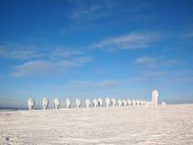 Schneeskulpturen in Lappland Stockfotos