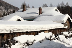 Schneestadt Stockfotos