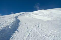 Schneesteigung bei Val D'Isere. Stockbild