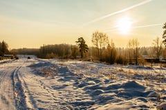 Schneestraße an sunrise_8 Stockfoto