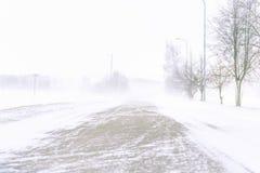 Schneesturm auf einer Landstraße im Tageslicht stockbild