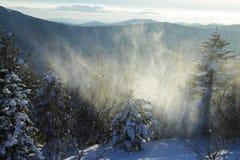 Schneesturm in den Bergen Stockbilder