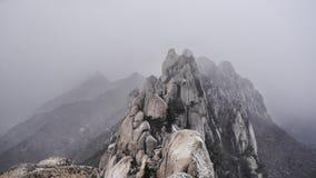 Schneesturm in den Bergen Seoraksan Lizenzfreie Stockbilder