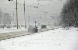 Schneesturm in der Stadt Lizenzfreie Stockfotos
