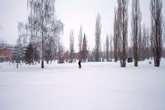 Schneesturm in der Stadt, große Haufen des Schnees, Stadtbild im Winter Lizenzfreie Stockbilder