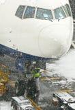 Schneesturm an Heathrow-Flughafen Lizenzfreies Stockbild