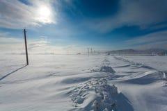 Schneesturm im Tal während des sonnigen Tages und der Straße ist vom Schnee und von den elektrischen Pfosten mit defekten Drähten Stockfotos