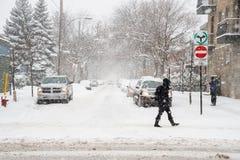 Schneesturm in Montreal Stockbild