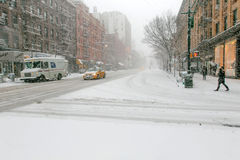 Schneesturm in NYC Stockfoto