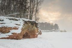 schneesturm Schneefälle an der Küste Schneebedeckter Strand und gefrorene Ostsee Lizenzfreies Stockfoto