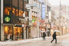 Schneesturm in Tokyo Japan Stockfotos