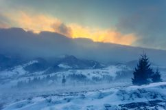 schneesturm Winter in den Bergen Stockbilder