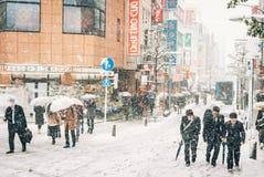 Schneesturm in Yokohama, Japan Lizenzfreies Stockbild