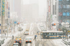 Schneesturm in Yokohama, Japan