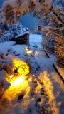 Schneetelefontapete stockfoto