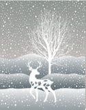 Schneewinter-Waldlandschaft mit Rotwild Abstrakte Vektorillustration des WinterBaumes des Waldes Stockfotos
