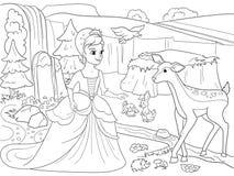 Schneewittchen im Wald mit Tieren Geschichte, Karikatur, schwarze Linien des Malbuches auf einem leeren Hintergrund vektor abbildung