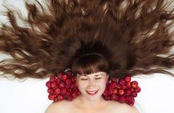 Schneewittchen mit Draufsicht des langen Haares Stockfotografie