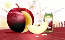 Schneiden Sie Apple und Vitamine Stockfotografie