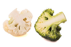 Schneiden Sie Blumenkohl und Brokkoli Stockfoto