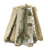 Schneiden Sie die Klotz des Brennholzes lokalisiert auf weißem Hintergrund Stockfotografie