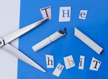 Schneiden Sie die rauchende Gewohnheit stockfoto