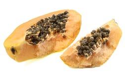 schneiden Sie geöffnete Papaya Lizenzfreie Stockfotos