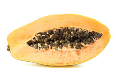 schneiden Sie geöffnete Papaya Lizenzfreies Stockbild