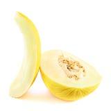 Schneiden Sie gelbe Melonenzusammensetzung Lizenzfreie Stockfotos
