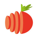 schneiden Sie Gemüsetomate lokalisiertes Ikonendesign Stockbilder