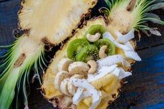 Schneiden Sie in halbe Ananas mit Kokosnuss, chia, Kiwi, Acajoubaum Lizenzfreie Stockfotografie