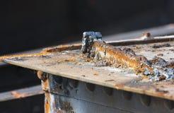 Schneiden Sie Rusty Steel Detail Stockfoto