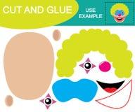 Schneiden Sie und kleben Sie, um Bild des Kopfes des Clowns zu schaffen Pädagogisches Spiel stock abbildung