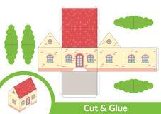 Schneiden Sie und Kleber ein Haus Kinderkunstspiel f?r T?tigkeitsseite Papier-Modell 3d Auch im corel abgehobenen Betrag lizenzfreie abbildung