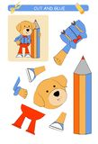 Schneiden Sie und Kleberarbeitsblatt: Hund Lernspiel f?r Kinder vektor abbildung