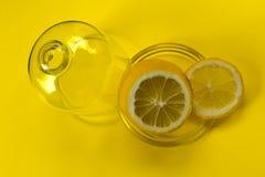 Schneiden Sie Zitrone in den Glaswaren auf gelbem backgroundCopy Raum lizenzfreies stockbild