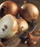 Schneiden Sie Zwiebeln und Küchemesser Lizenzfreie Stockfotos