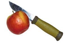 Schneiden von saftigen Äpfeln Stockfoto