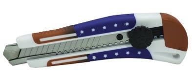 Schneider mit der amerikanischen Flagge lokalisiert lizenzfreies stockbild