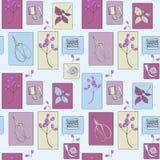 Schneider mit Ziegeln gedecktes nahtloses Muster mit Symbolen der Näharbeit stock abbildung