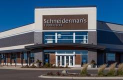Schneiderman`s Furniture Store. WOODBURY, MN/USA - NOVEMBER 13, 2016: Schneiderman`s furniture store exterior and log. Schneiderman`s is a chain of furniture royalty free stock image