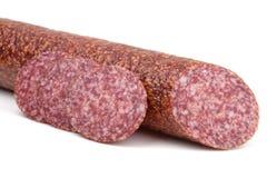 Schneidet italienische Salamiwurst lizenzfreies stockfoto