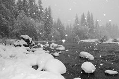 Schneien durch Flussufer lizenzfreie stockfotografie