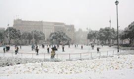 Schneien in im Stadtzentrum gelegenem Barcelona Stockbild
