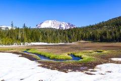 Schneien Sie auf Berg Lassen im Nationalpark stockbilder